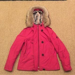 Burberry Red Fur Hooded Coat size small